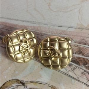 Gold  22 mm vintage  stud  Chanel button earring